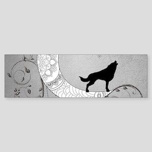 Moon mandala design with wolf Bumper Sticker
