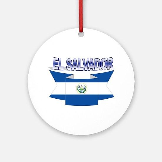 Salvadorian flag ribbon Ornament (Round)