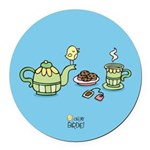 Its always tea-time! Round Car Magnet