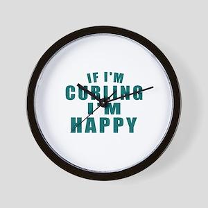 If I Am Curling I Am Happy Wall Clock