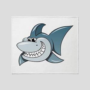 Cartoon Shark Throw Blanket
