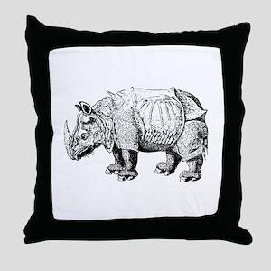 Rhino Sketch Throw Pillow