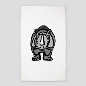 Cartoon Rhinoceros 3'x5' Area Rug