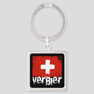 Verbier Grunge Flag Square Keychain