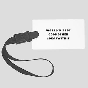 World's Best Godmother (Hashtag) Large Luggage Tag