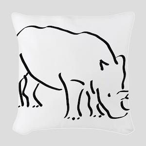 Rhinoceros Drawing Woven Throw Pillow