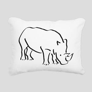 Rhinoceros Drawing Rectangular Canvas Pillow