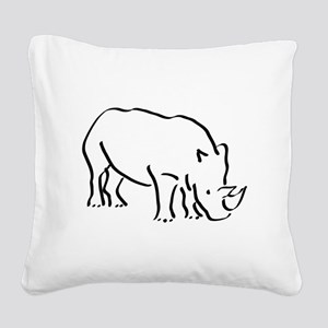 Rhinoceros Drawing Square Canvas Pillow