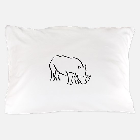 Rhinoceros Drawing Pillow Case