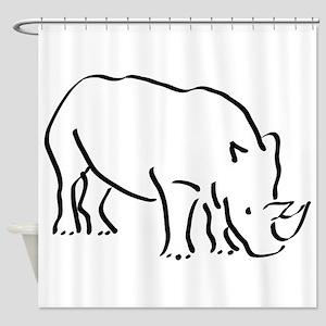 Rhinoceros Drawing Shower Curtain