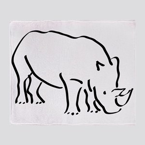 Rhinoceros Drawing Throw Blanket