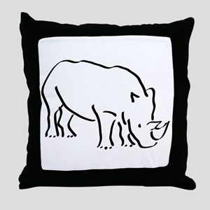 Rhinoceros Drawing Throw Pillow