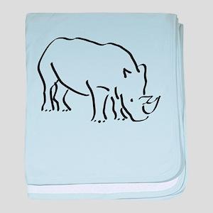 Rhinoceros Drawing baby blanket