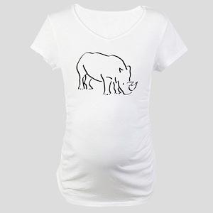 Rhinoceros Drawing Maternity T-Shirt