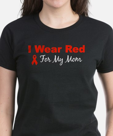 I Wear Red For My Mom Women's Dark T-Shirt