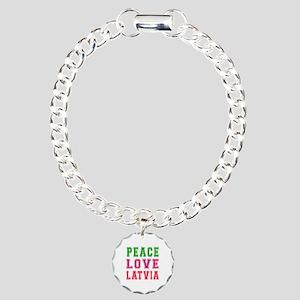 Peace Love Latvia Charm Bracelet, One Charm
