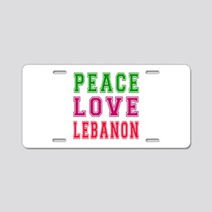 Peace Love Lebanon Aluminum License Plate