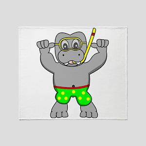 Snorkling Hippo Throw Blanket