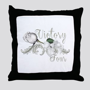 Victory Tour White Rose Catching Fire Throw Pillow