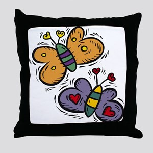 Butterflies with Hearts Throw Pillow