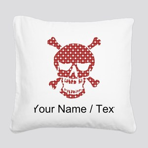 Custom Skull Red And White Stars Square Canvas Pil