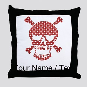 Custom Skull Red And White Stars Throw Pillow
