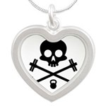 Skull and Cross Fitness Silver Heart Necklace