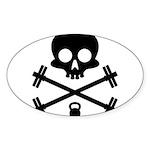 Skull and Cross Fitness Sticker (Oval 50 pk)