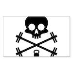 Skull and Cross Fitness Sticker (Rectangle 50 pk)