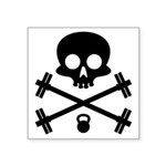 Skull and Cross Fitness Square Sticker 3