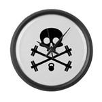 Skull and Cross Fitness Large Wall Clock