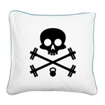 Skull and Cross Fitness Square Canvas Pillow
