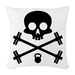 Skull and Cross Fitness Woven Throw Pillow