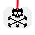 Skull and Cross Fitness Picture Ornament