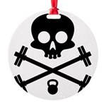Skull and Cross Fitness Round Ornament