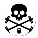 Skull and Cross Fitness Round Car Magnet