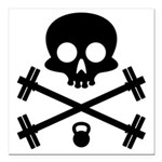 Skull and Cross Fitness Square Car Magnet 3