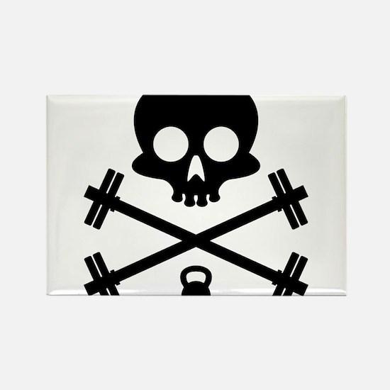 Skull and Cross Fitness Rectangle Magnet
