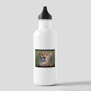 Cheetah - blood on my cheek. Yum! Water Bottle