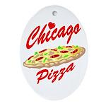 Love Chicago Pizza Oval Ornament
