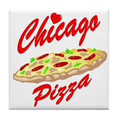 Love Chicago Pizza Tile Coaster