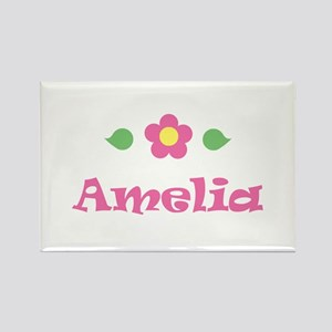 """Pink Daisy - """"Amelia"""" Rectangle Magnet"""