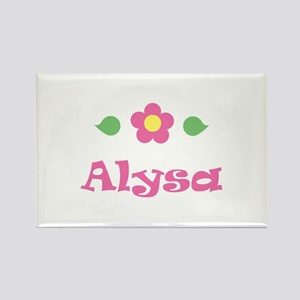 """Pink Daisy - """"Alysa"""" Rectangle Magnet"""