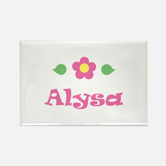 "Pink Daisy - ""Alysa"" Rectangle Magnet"