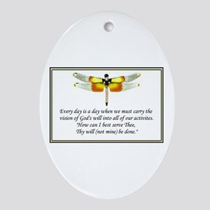 """God's Will be done"" Oval Ornament"