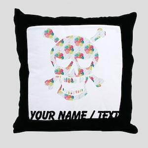 Custom Skull Colorful Balloons Throw Pillow