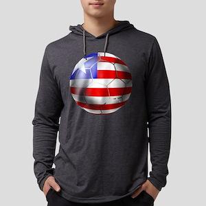 Liberia Soccer Ball Mens Hooded Shirt