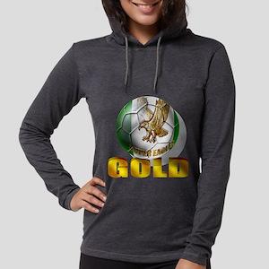 Nigerian Football Gold Womens Hooded Shirt
