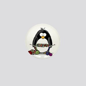 Knitting Penguin Mini Button