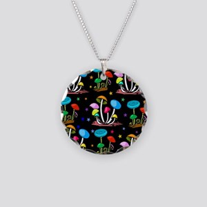 Rainbow Of Shrooms Necklace Circle Charm